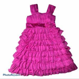 Pink ruffled tiered dress
